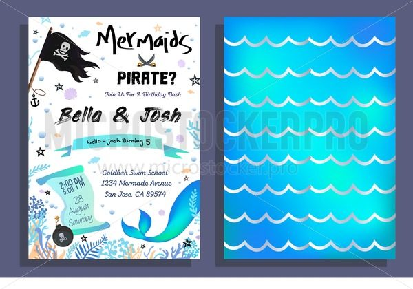mermaid and pirate party invitation with holographic background mermaid tail pirate flag and doodles vector birthday card for little pirate boy and