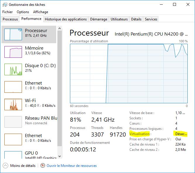 Windows 10 - onglet Performance - gestionnaire de tâches