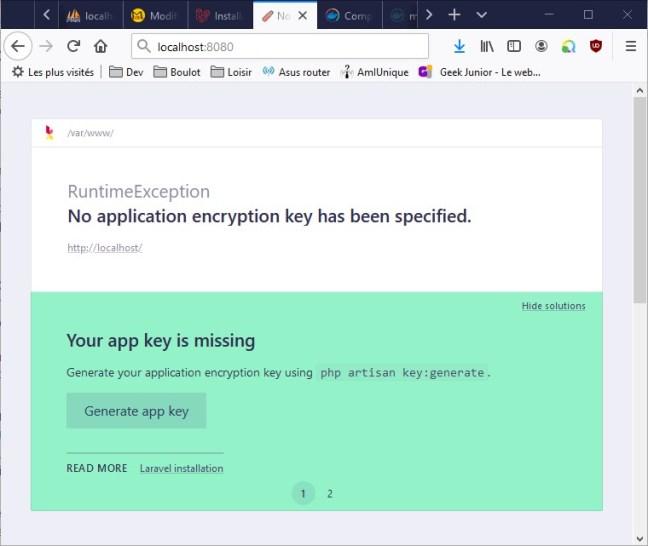 Page d'accueil de Laravel 7 lancée depuis le conteneur Docker