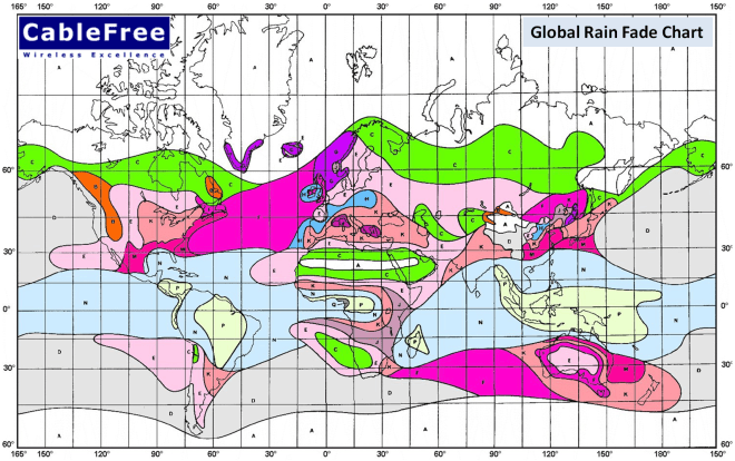 Global ITU Rain Fade Map for Microwave Link Availability Planning