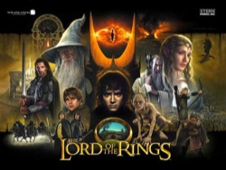 Stern's Lord of the Rings pinball backglass