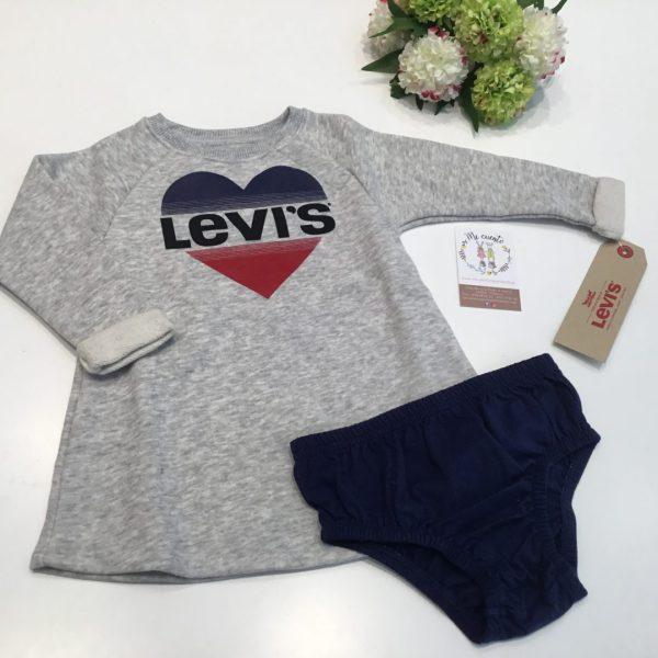 vestido bebe levis gris