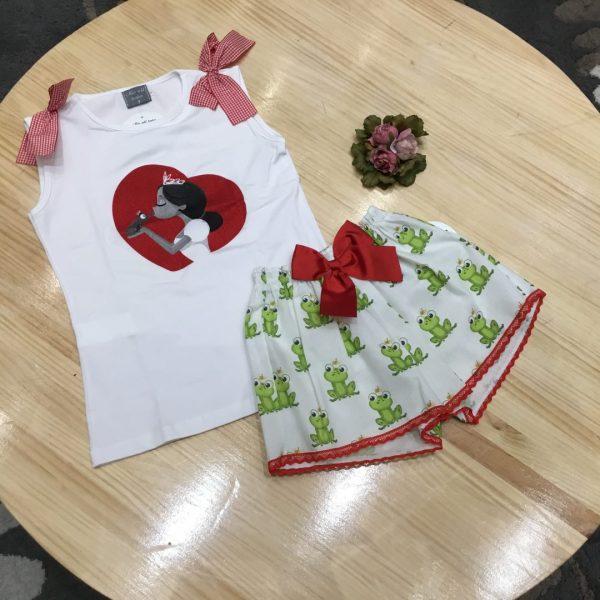 conjunto short y camiseta rana de mon petit bonbon