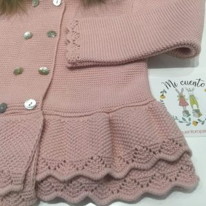 chaqueta punto niña en rosa y pelo natural