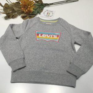 sudadera gris levis niña con logo en rizo de colores