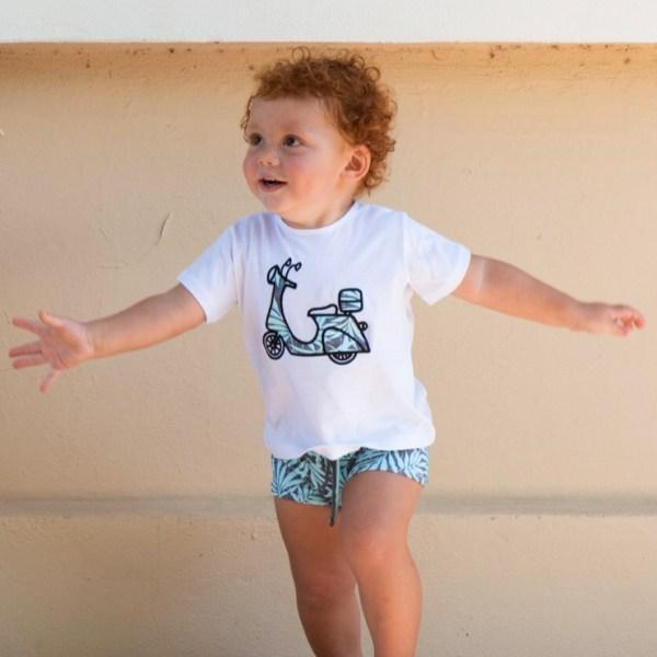 conjunto niño bañador de licra con camiseta