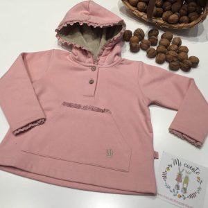 sudadera rosa con capucha eva castro
