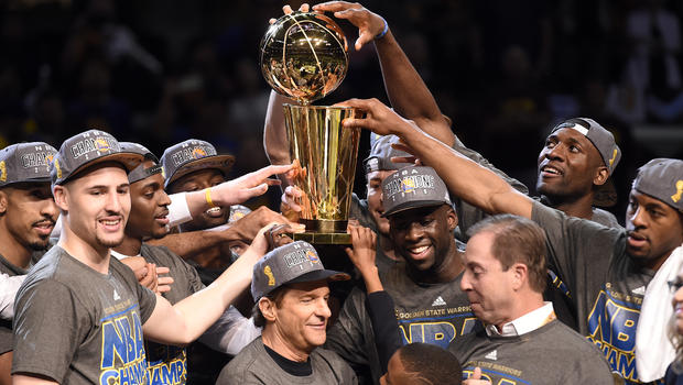 Golden State Warriors with 2015 NBA trophy