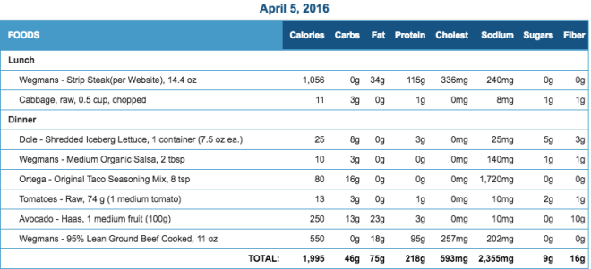 Mike's Diet Journal Entry for April 5 2016