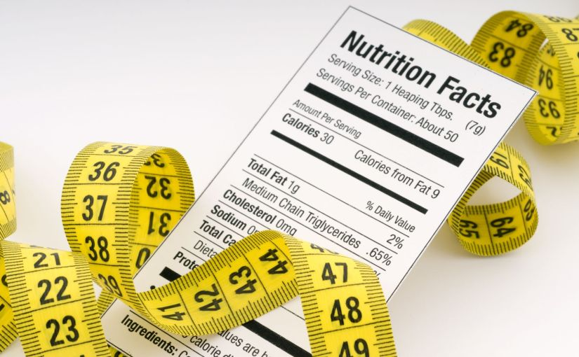 Food label and measuring tape