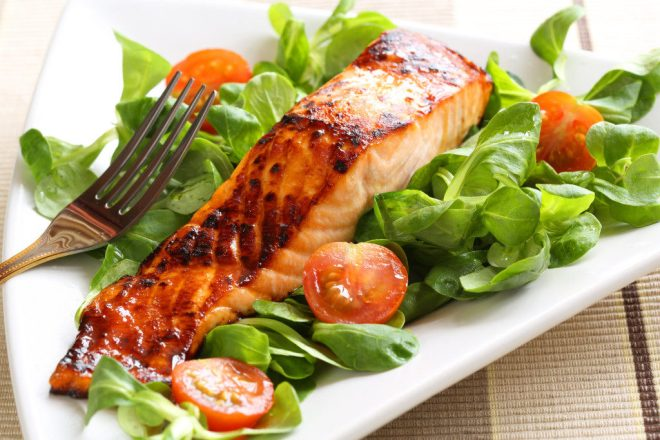 healthy salad with grilled salmon