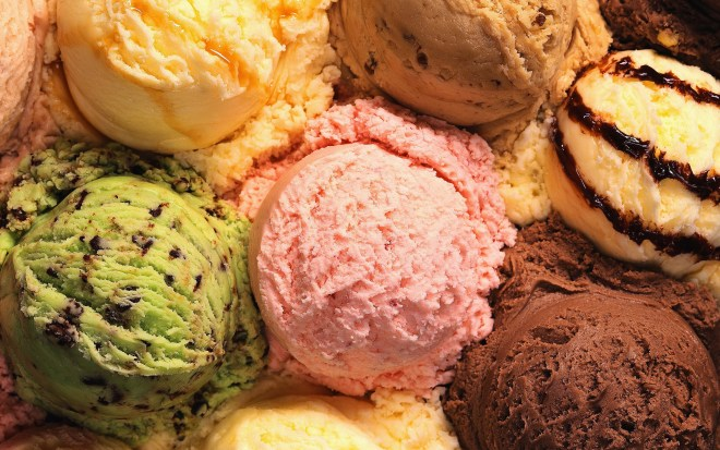 multiple ice cream flavors