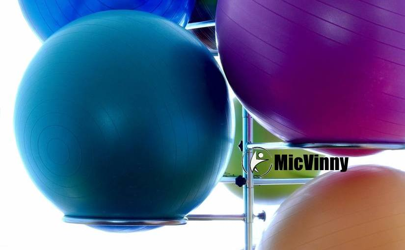 swiss balls and medicine balls with MicVinny logo
