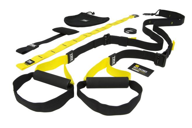 TRX suspension trainer parts laid out