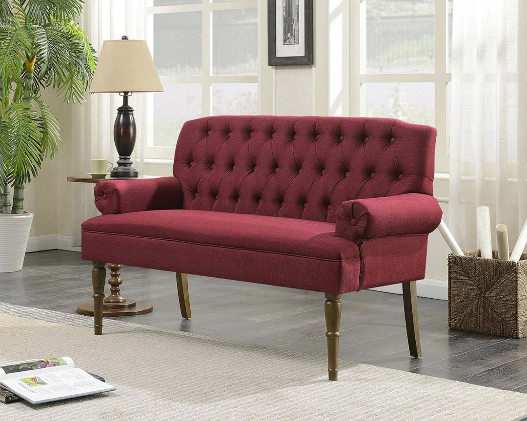 Belleze Button Tufted Vintage Mid-Century Love Seat - Featured