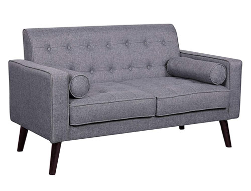 Container Furniture Direct Valadez Loveseat Mid-Century - Light Grey