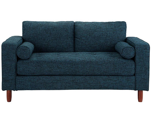 Divano Roma Modern Tufted Love Seat - Dark Blue