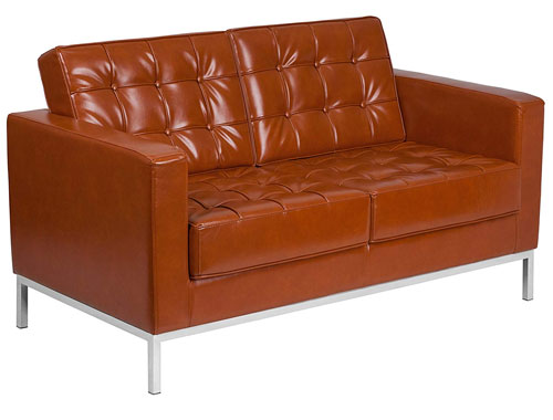 Flash Furniture Lacey Leather Loveseat - Brown