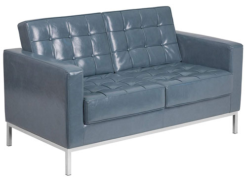 Flash Furniture Lacey Leather Loveseat - Gray