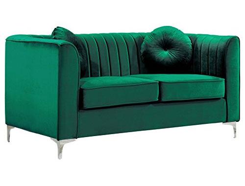 Meridian Furniture Isabelle (Velvet) - Loveseat Sofa - Green