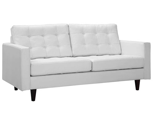 Modway Empress Leather Loveseat - White
