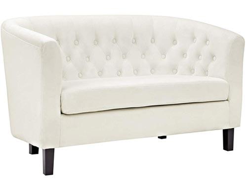 Modway Prospect Loveseat Sofa (Velvet) - Ivory White