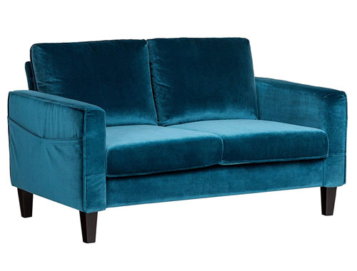 South Shore Velvet 2-Seat Loveseat Mid-Century - Blue
