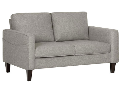 South Shore Fabric 2-Seat Loveseat Mid-Century - Light Grey