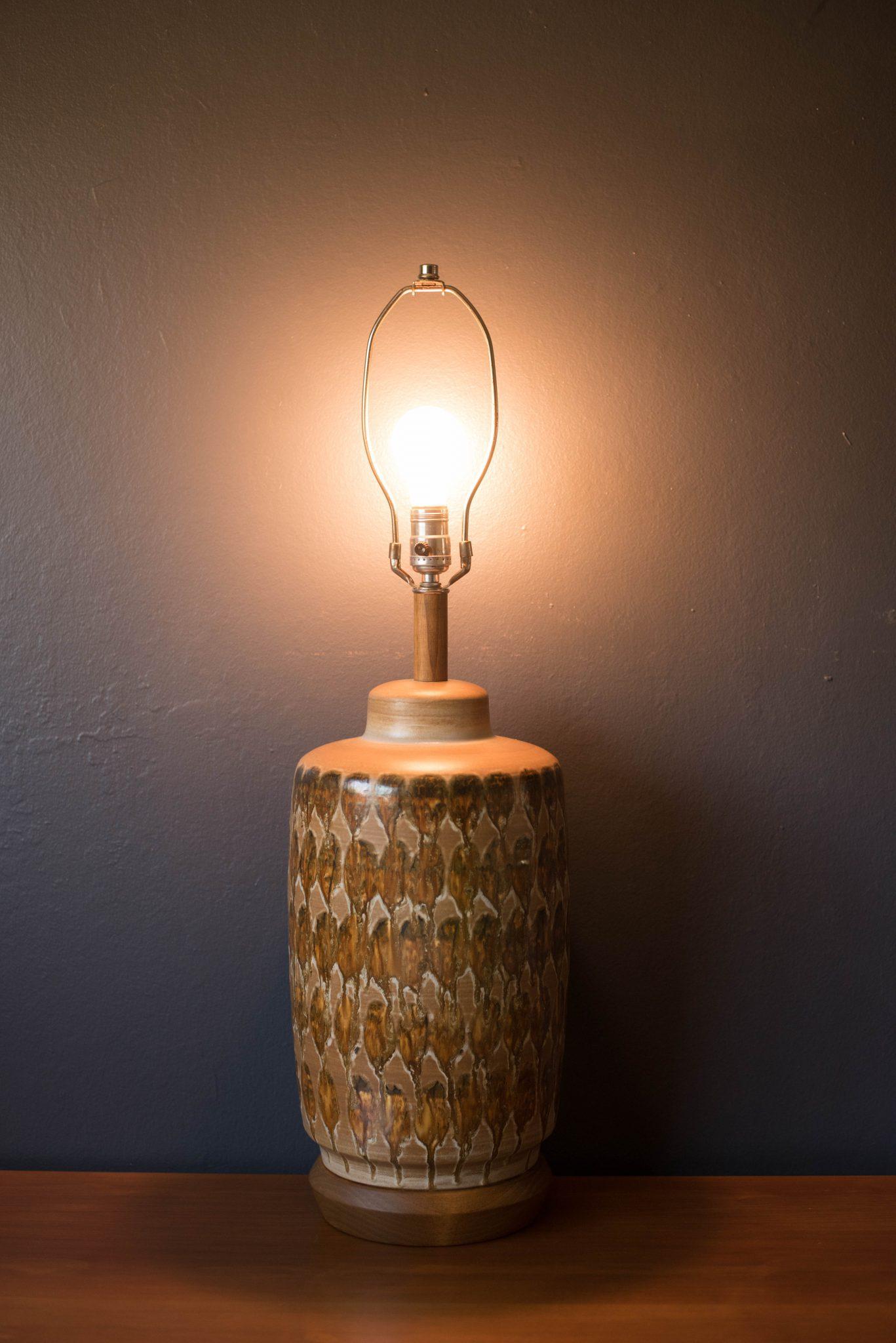 Mid Century Ceramic Pottery Glazed Lamp Mid Century Maddist
