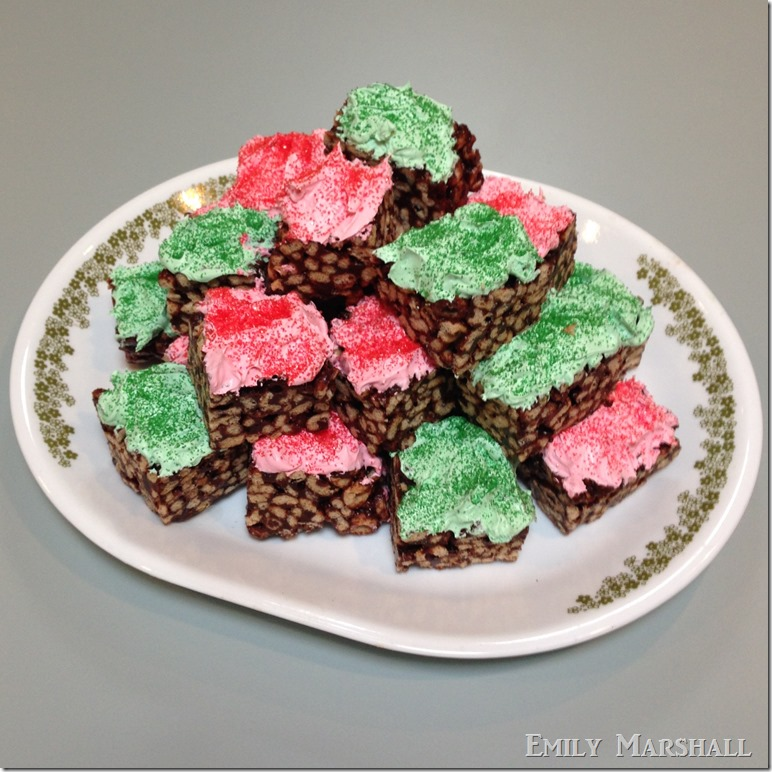 frosted chocolate cheerio bars