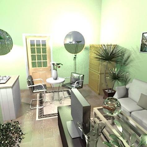 The living room looking toward the front door.