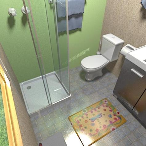 View of the shower and bathroom.