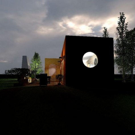Ronnie's Tiny House Back View at Night Lights Off