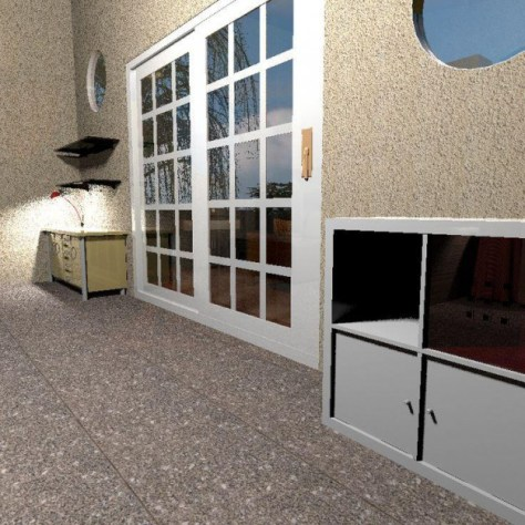 Ronnie's Tiny House Living Area Looking at Patio Doors