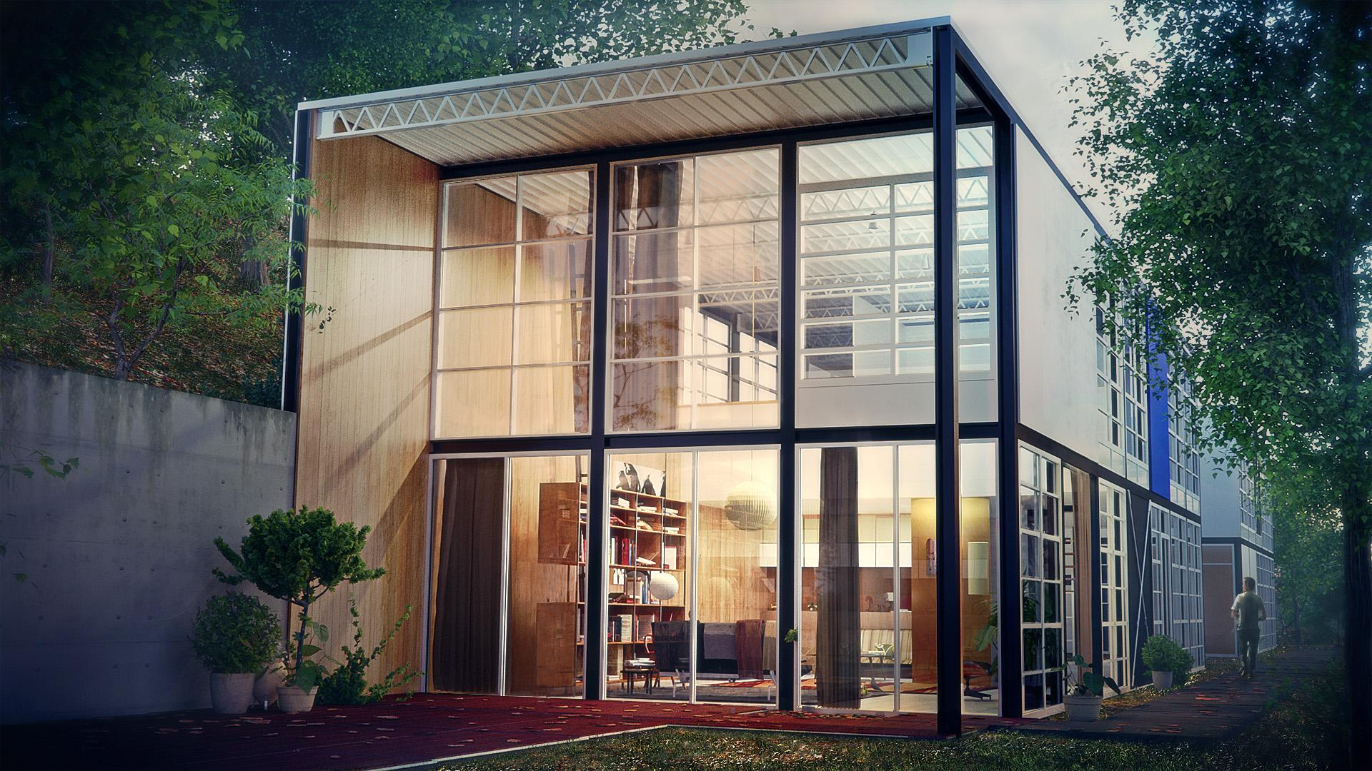Eames case study house 8 mid century modern groovy for Modern house 8