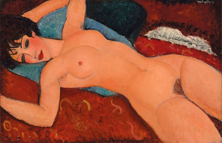 The above featured image for this article, Amedeo Modigliani, Nu couché (Reclining Nude) (1917–18), received £113 million.
