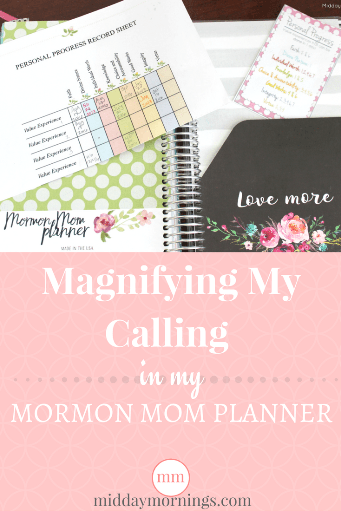 As the Personal Progress Specialist for the Young Women in our ward, I get to come up with exciting ways to keep the girls interested in the Personal Progress program. My Mormon Mom Planner helps me keep track of ideas, remember which girl I need to follow up with, and keep track of value experiences that take longer than a day to complete. #mormonmomplanner #personalprogress