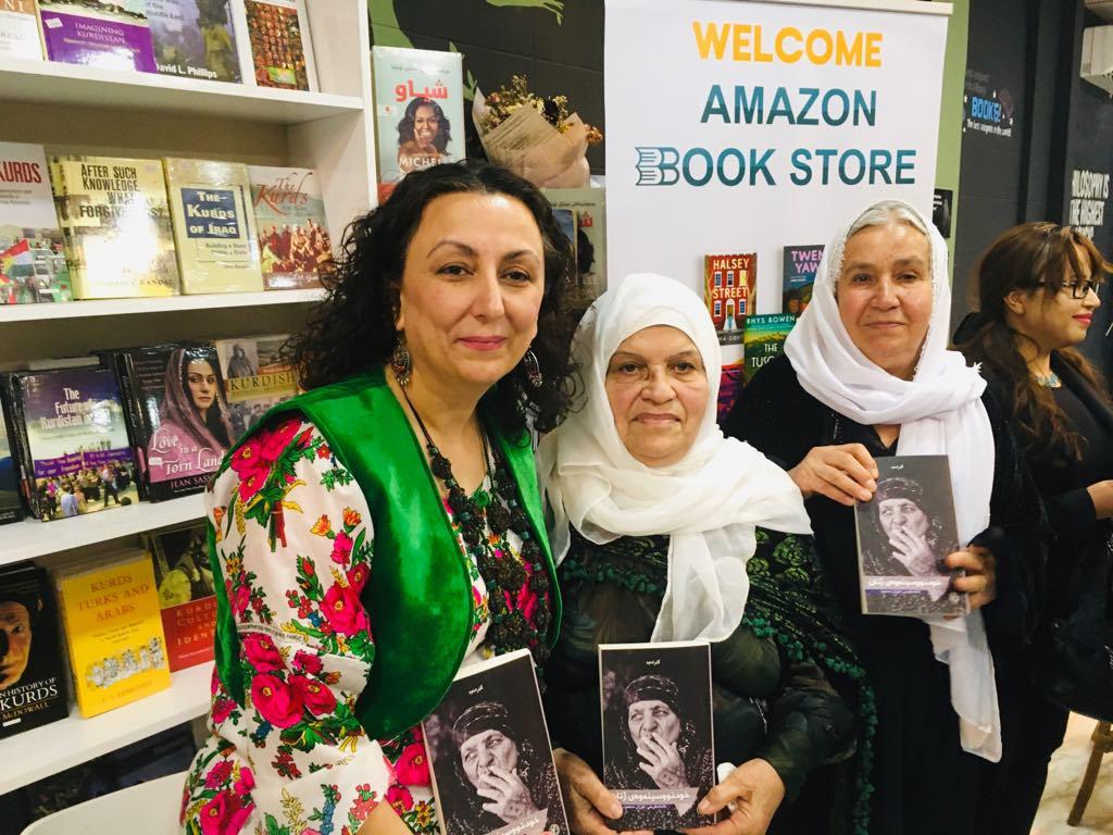 Houzan Mahmoud (L) with contributors Mother Sabria (C) and Nazanin Hassan (R) at the book launchin Sulaymaniyah, November 2019 (Houzan Mahmoud)