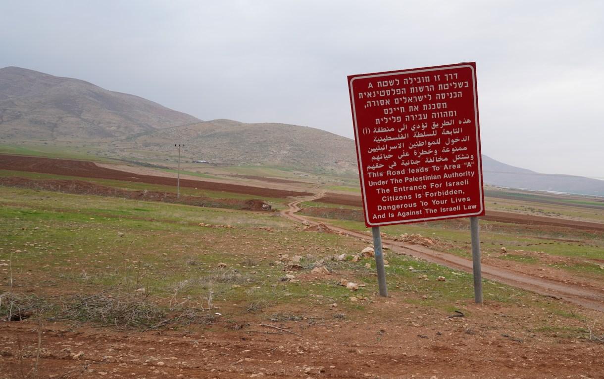 Jordan Valley Israeli warning sign