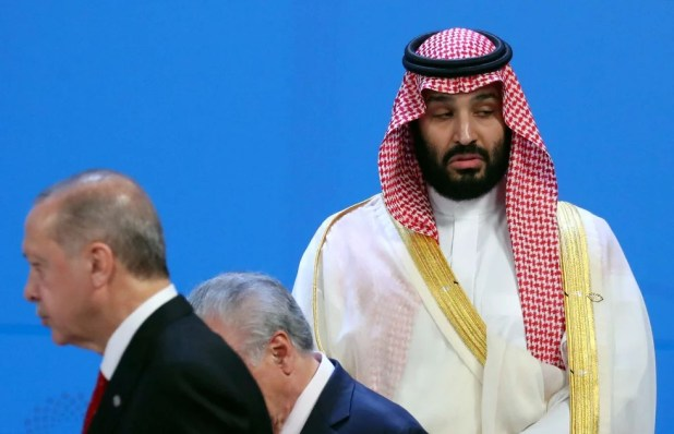 Turkish President Tayyip Erdogan and Saudi Arabia's Crown Prince Mohammed bin Salman are seen during the G20 summit (Reuters)