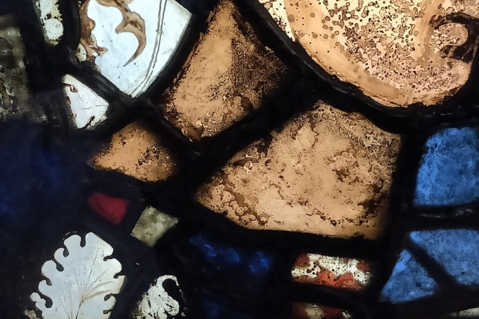 In the photo, 12th century stained glass with bubbles (Diana Darke / MEE)