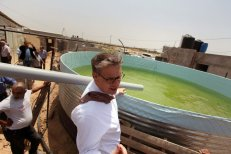 Representative for the Netherlands to the Palestinian Authority Peter Mollema visits a Dutch-funded water supply project in Khan Younis in the southern Gaza Strip May 1, 2016. [Ashraf Amra / Apa Images]