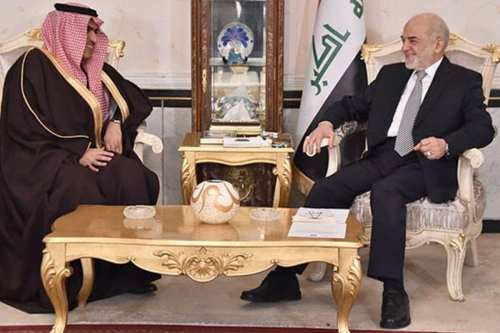 Saudi Arabian Ambassador Thamer al-Sabhan (L) with the Iraqi Foreign Minister Ibrahim al-Jaafari on January 14, 2016