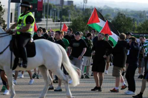 Scottish football fans supporting Glasgow Celtic in a match against Israel's Hapoel Beer Sheva team displayed Palestinian flags despite a ban by stadium officials [August 2016]