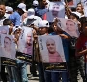 Protestors gather in Gaza in support of Mohamed El-Halabi