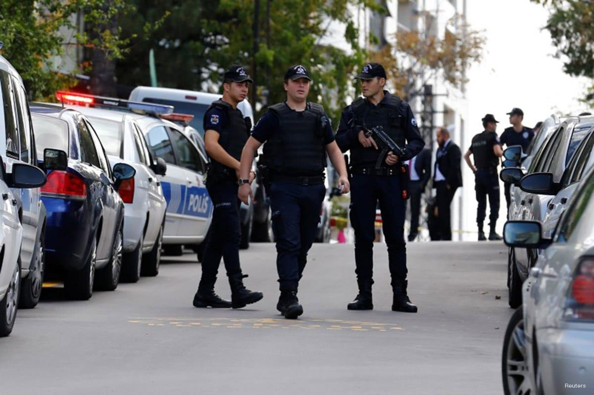 Police forensic experts examine in front of the Israeli Embassy in Ankara, Turkey, September 21, 2016. REUTERS/Umit Bektas