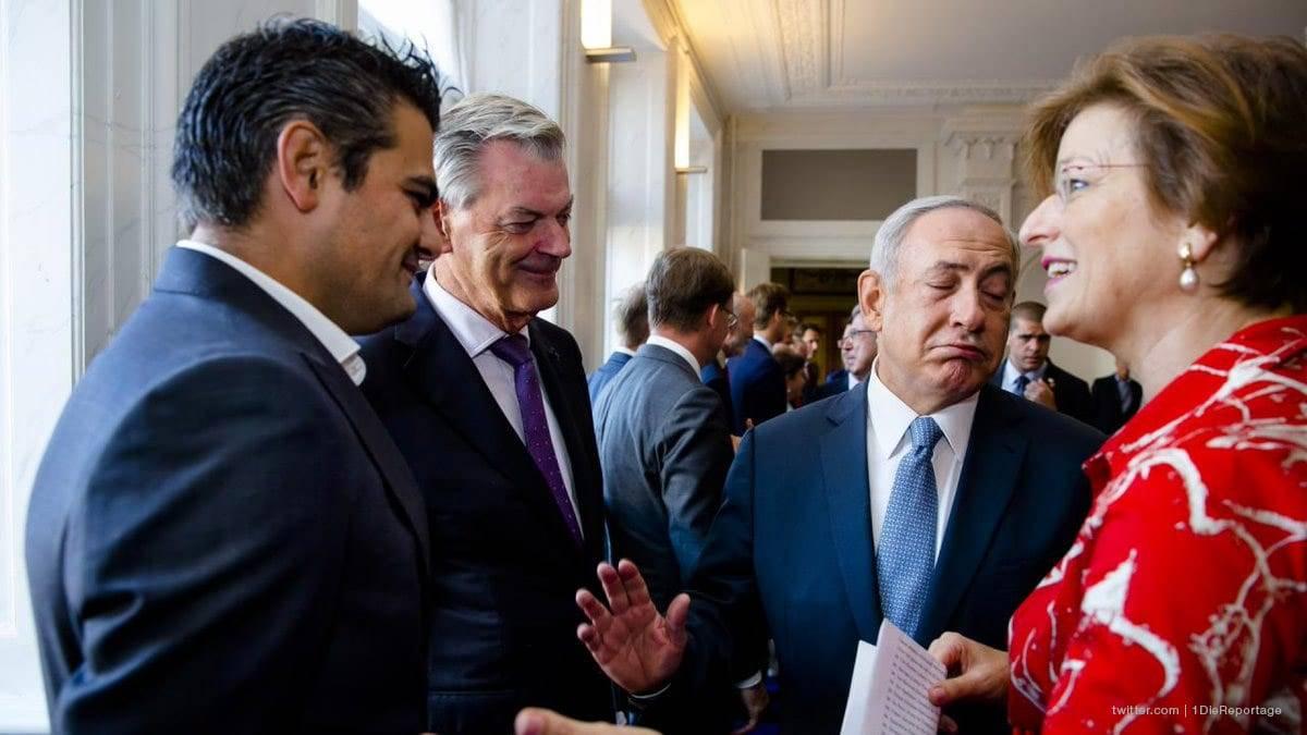 Dutch Member of Parliament Tunahan Kuzu yesterday refused to shake hands with Israeli Prime Minister Benjamin Netanyahu. [Twitter @1DieReportage]