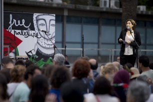"The mayor of Barcelona, Ada Colau gives a speech to show her support for two sailing boats, Amal-Hope and Zaytouna-Oliva, with only female activists on board, before it sets off for the Gaza Strip from the port of Barcelona under the banner ""The Women's Boat to Gaza"" to break the Israeli blockade on Gaza on September 14, 2016 in Barcelona, Spain. ( Albert Llop - Anadolu Agency )"