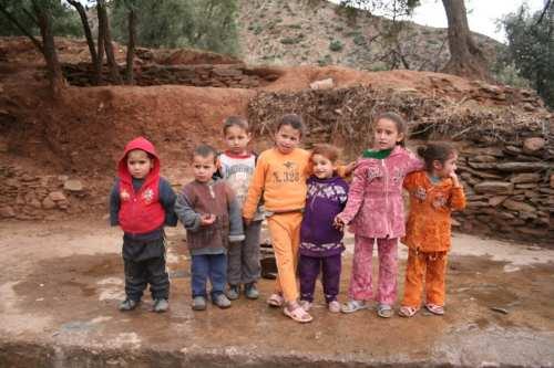 A group of Berber children near the Atlas Mountain Range, Morocco [Wikipedia / Adam Axon]