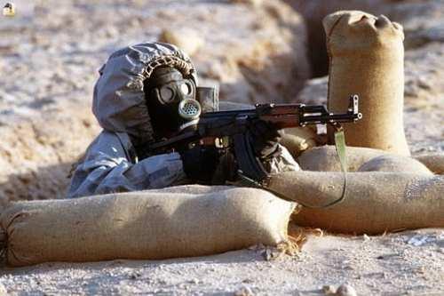 Soldier wearing a gas mask. [Wikipedia]